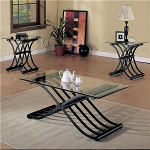 3 Piece Glass-top Cocktail Table and End Table Set