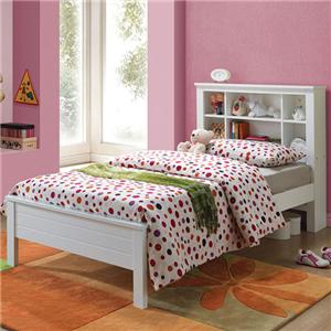 Twin Bed with 6 Slot Headboard Shelf