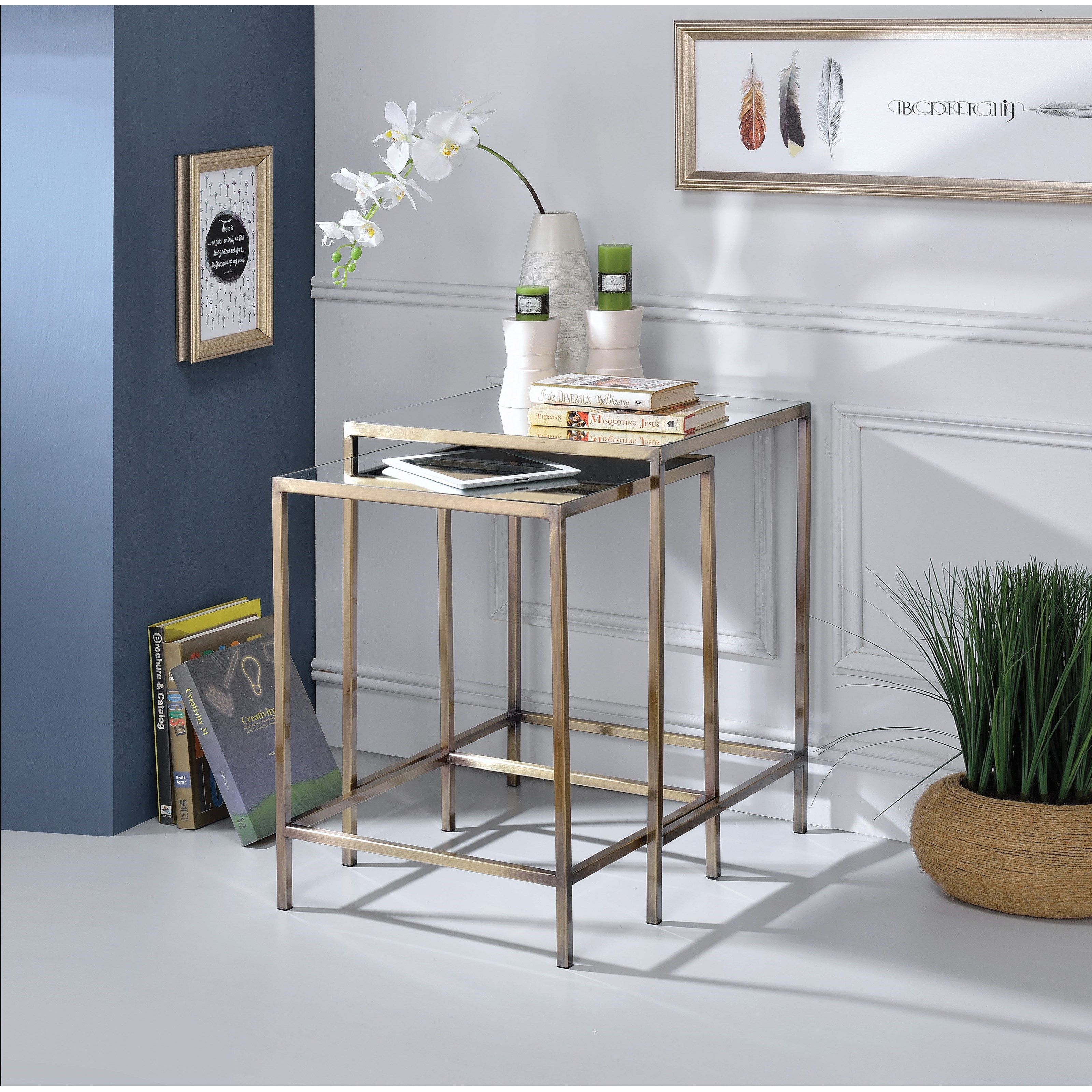 Yumia Nesting Table Set (2Pc Pk) by Acme Furniture at Nassau Furniture and Mattress
