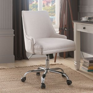 Transitional Office Side Chair with Nailhead Trim