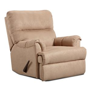 Casual Chaise Rocker Recliner with Rolled Arms