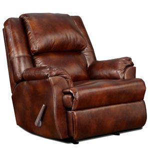 Handle-Operated Imitation Leather Recliner