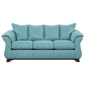 Transitional Flared Pillow Arm Stationary Sofa