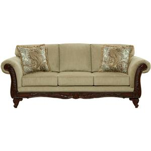 Traditional Sofa with Exposed Wood Rolled Arms
