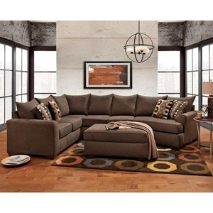 Brown Sectional Sofa with Cuddler