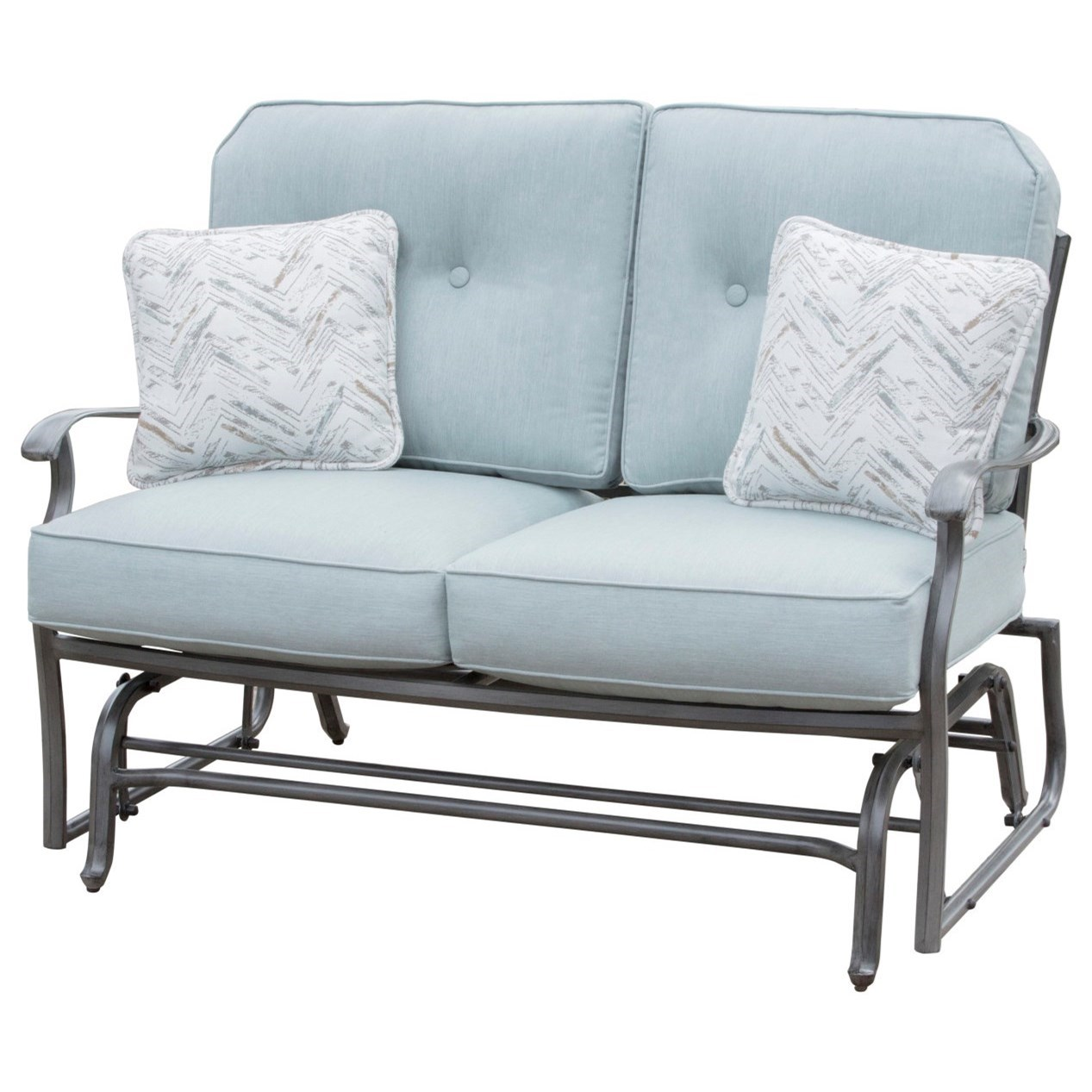 Melbourne by Agio Outdoor Gliding Love Seat by Apricity Outdoor at Westrich Furniture & Appliances