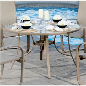 "Apricity Outdoor Monterey 3 48"" Round Glass Top Dining Table"