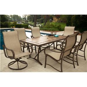 Agio Sullivan Dining Set with 6 Arm Chairs