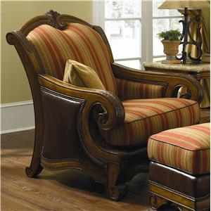 Michael Amini Tuscano Melange Wood Trim Leather/ Fabric Chair