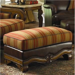 Michael Amini Tuscano Melange Wood Trim Leather/ Fabric Ottoman