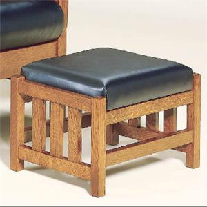 Mission-Style Ottoman with Slatted Wood Frame