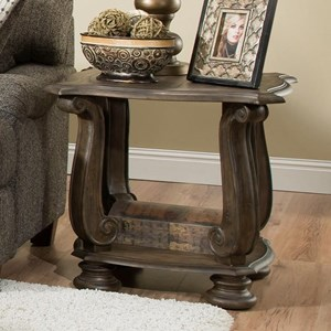 Traditional End Table with Scroll Legs