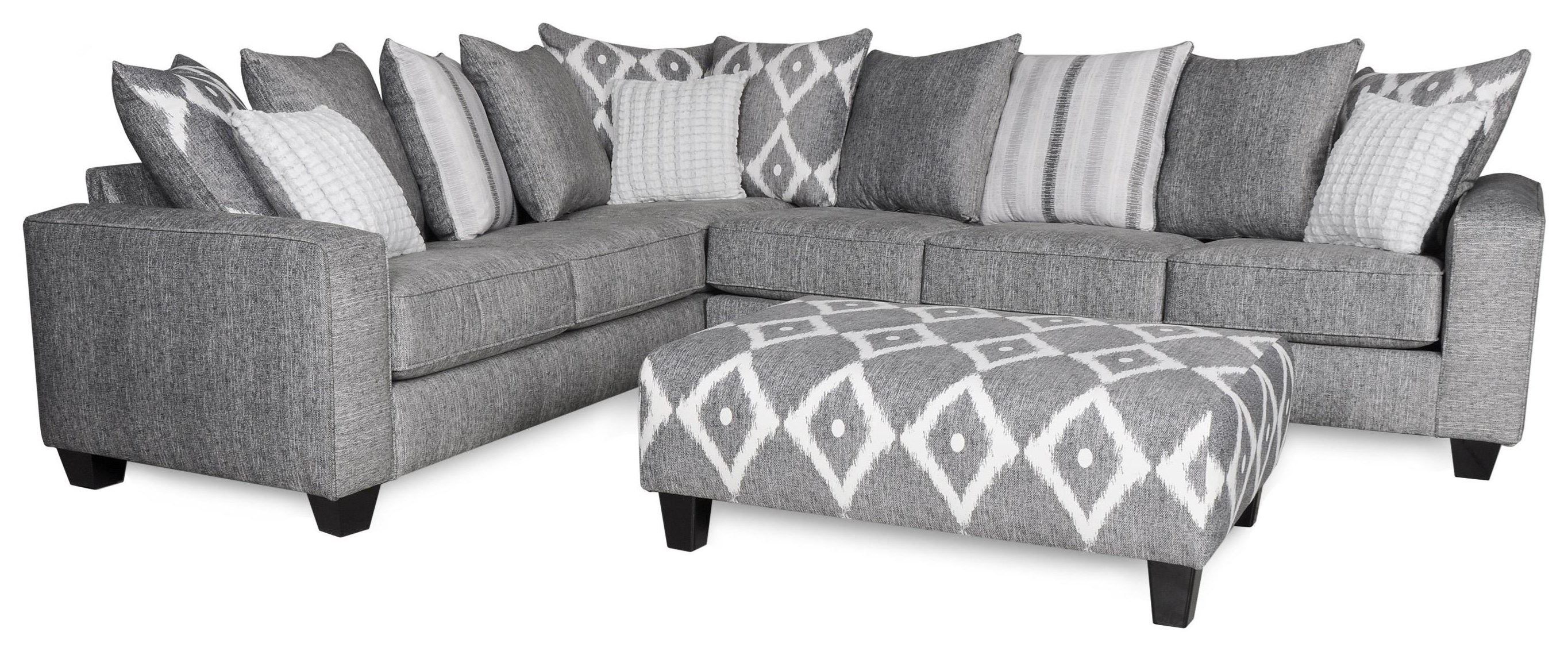 Contemporary 2 Piece Sectional in Gray Fabric