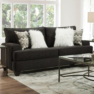 Transitional Loveseat with Wide Track Arms