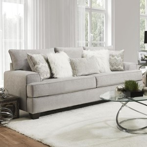 Transitional Queen Sleeper Sofa with Wide Track Arms