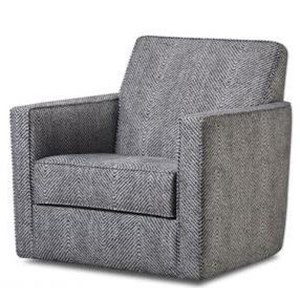 Casual Upholstered Swivel Chair with Track Arms