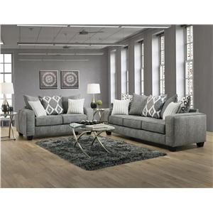 Casual Sofa and Loveseat with Track Arms Living Room Set