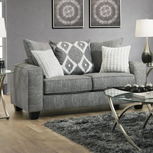 Casual Modern Loveseat with Pillow Back