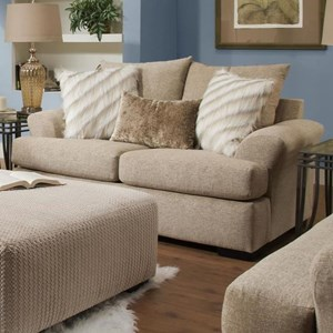 Casual Loveseat with Large Flare Tapered Arms