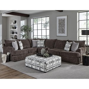 Casual Sectional Sofa with Loose Pillow Back
