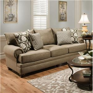 Traditional Stationary Sofa with Oversize Rolled Arms