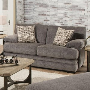 Casual Loveseat with Plush Pillow Arms