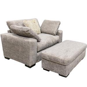 Albany Nova Stone Plush Chair and Ottoman