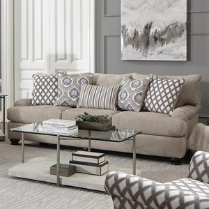 Casual Sofa with Slim Rolled Pillow Arms