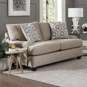 Casual Loveseat with Slim Rolled Pillow Arms