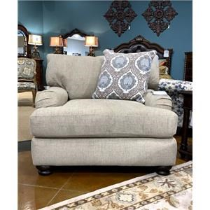 Casual Upholstered Chair with Slim Rolled Pillow Arms