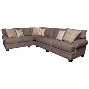 Casual Sectional Sofa with Accent Pillows