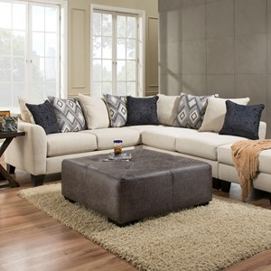 2 Piece Sectional Sofa in Dynasty Cream Fabric