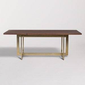 Dining Table with Antique Brass Trestle Base
