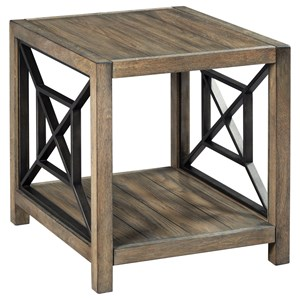 Transitional Rectangular End Table with Metal Accents