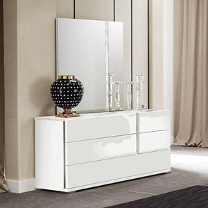 Dresser and Mirror Set with Print Carrara Marble Accents