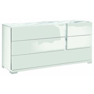 Dresser with Print Carrara Marble Accents