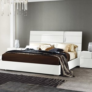 Queen Low Profile Bed with Carrara Marble Print Accent