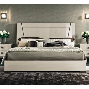 King Low Profile Bed with Wood Headboard
