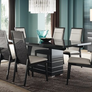 Contemporary Dining Table with Gloss Black Finish