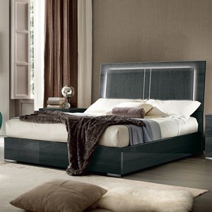 Contemporary Queen Storage Bed with Lights
