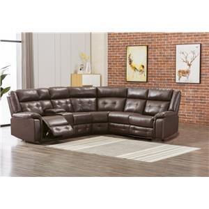Brown Faux Leather Three Recliner Sectional and Rocker Recliner Set