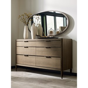 Hamden Six Drawer Dresser and Mirror Set with Jewelry Tray