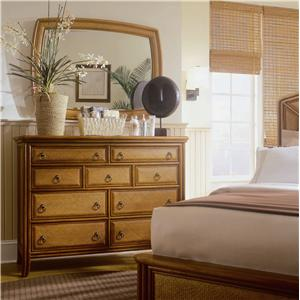 American Drew Antigua Landscape Mirror and Dresser Drawer