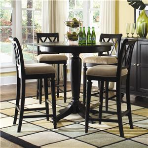 American Drew Camden - Dark Bar Height Pedestal Table with Stools