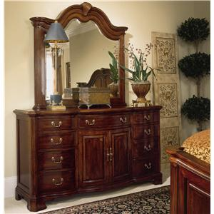 Triple Door Dresser and Landscape Mirror Combination