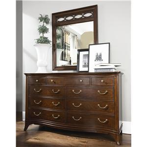 American Drew Cherry Grove Triple Dresser with Decorative Mirror