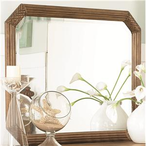 Vertical or Horizontal Landscape Beveled Mirror with Carved & Reeded Accents on the Wood Frame