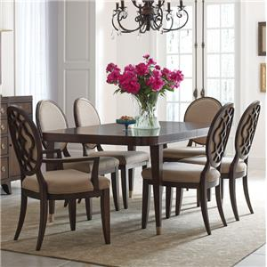 7 Piece Table and Chair Set with Decorative Back Arm Chairs