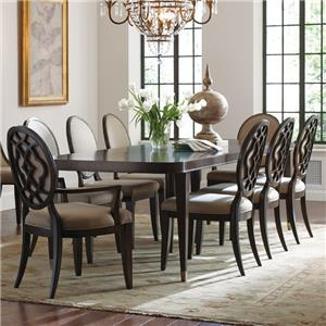 9 Piece Table and Chair Set with Decorative Back Arm Chairs