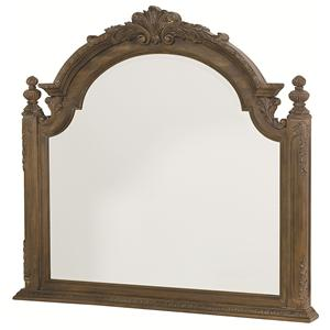 Landscape Mirror with Carved Pediment Top